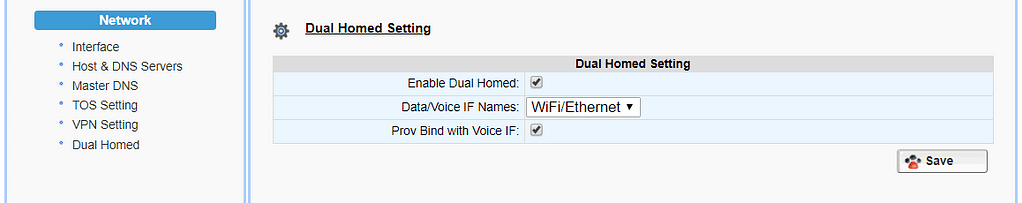 Dual-Homed Mode for isolated voice network